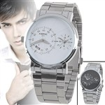 Dual Dial Quartz Watch with Alloy Band for Man Boys Gentleman